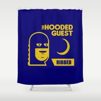 will ferrell Shower Curtains featuring funny condom by Buby87