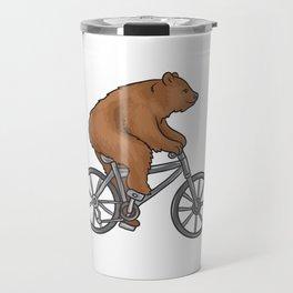 Bear On A Bike Funny Fitness Gift for Bear Lover Travel Mug
