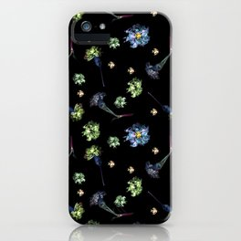 Carnations | Black & Blue iPhone Case