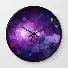Purple galaxy 2 low poly Wall Clock
