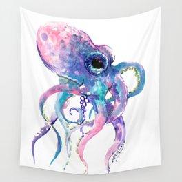 Octopus, Pink purple sea animals design underwater scene painting Wall Tapestry