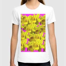 YELLOW SPRING DAFFODILS ON  VIOLET PURPLE ART T-shirt