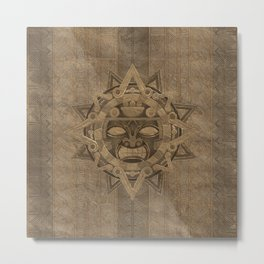 Aztec Sun God - Golden Metal Print