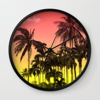 tropical Wall Clocks featuring palm tree  by mark ashkenazi