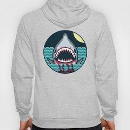 Dark night at the sea - wild shark appear Hoody