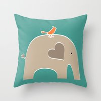 portlandia Throw Pillows featuring Put a Bird on It Elephant by Elephant Love