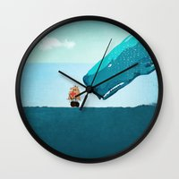 whale Wall Clocks featuring Whale by mark ashkenazi