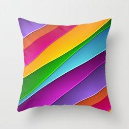 Modern Rainbow Hued curves Throw Pillow