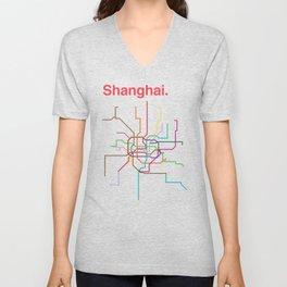 Shanghai Transit Map Unisex V-Neck