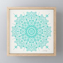 Moroccan Mandala – Turquoise Palette Framed Mini Art Print
