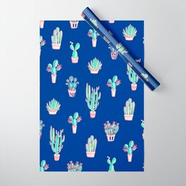 Little cactus pattern - Princess Blue Wrapping Paper