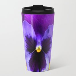 DECORATIVE LILAC PURPLE PANSIES  FLOWERS & PURPLE STARS Travel Mug