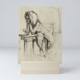'The Unwinding' Charcoal Drawing Nude woman drinking Wine Mini Art Print
