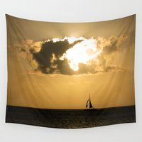 sailboat Wall Tapestries featuring Sailboat Sunset by Bizzack Photography