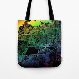 Tripoli, Libya, City, Map, Rainbow, Map, Art, Print Tote Bag
