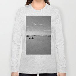 low tide sand beach sunny summer day at ouddorp zeeland netherlands europe black white Long Sleeve T-shirt
