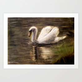 White Swan Painting Art Print