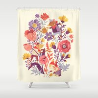 garden Shower Curtains featuring The Garden Crew by Teagan White