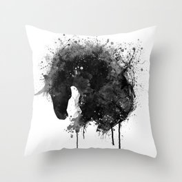 Black and White Horse Head Watercolor Silhouette Throw Pillow