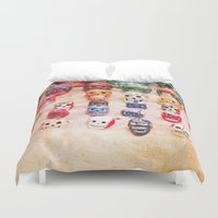 sugar skulls Duvet Covers featuring Sugar Skulls by Jenndalyn
