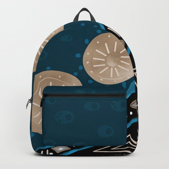 Abstract pattern Black and blue . Backpack