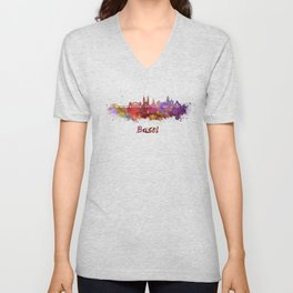 Basel skyline in watercolor Unisex V-Neck