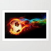 soccer Art Prints featuring Soccer  by Marvin Castro