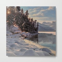 Winter Sunrise Lakeside in the Mountains by Ivan Fedorovich Choultsé Metal Print