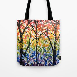 Abstract Art Original Landscape Painting ... Spectrum of Trees Tote Bag