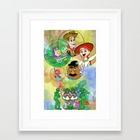pixar Framed Art Prints featuring Disney Pixar Play Parade - Toy Story Unit by Joey Noble
