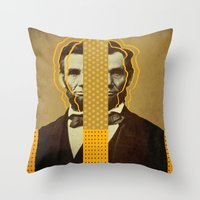 lincoln Throw Pillows featuring AbracadAbraham - Lincoln by AmDuf