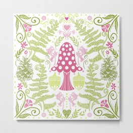 Ode to the Fairy Magical Mushroom    Pink and Green Metal Print