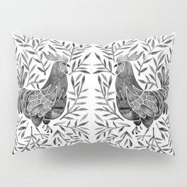 Le Coq – Watercolor Rooster with Black Leaves Pillow Sham