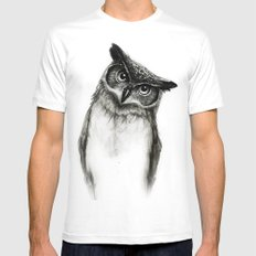Owl Sketch White MEDIUM Mens Fitted Tee