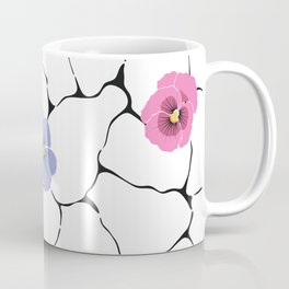 pansies on cracked ground Coffee Mug