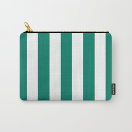 Generic viridian green - solid color - white vertical lines pattern Carry-All Pouch
