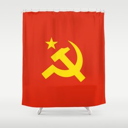 Communist Hammer & Sickle & Star Shower Curtain