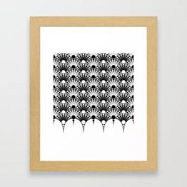 black and white art deco inspired fan pattern Framed Art Print
