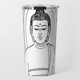 Buddha 02 Black & White Travel Mug