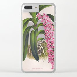 Vintage Lilac Orchid Aerides Fieldingi Lindenia Collection Clear iPhone Case