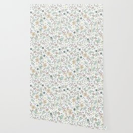 Country Flowers - White Blanco Wallpaper