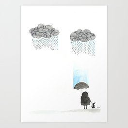 Old lady and the rain Art Print