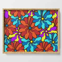 floral background. field of multi colored bright summer colors for the background Serving Tray
