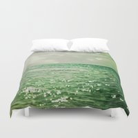 mermaid Duvet Covers featuring Sea of Happiness by Olivia Joy StClaire