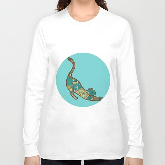 I love you Kitten in Blue-Green Long Sleeve T-shirt