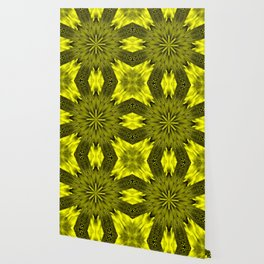 Peacock Kaleidoscope Yellow Wallpaper