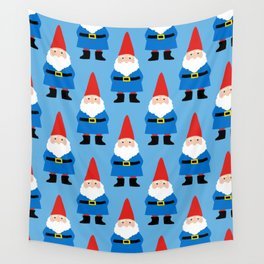 Gnome Repeat in Blue Wall Tapestry