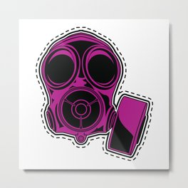 Cut out and keep gas mask — pink Metal Print