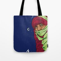 palestine Tote Bags featuring SAHARA LIBRE by Thekrakenshirt