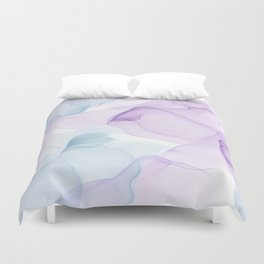 Purple Blush and Blue Flowing Abstract Painting Duvet Cover